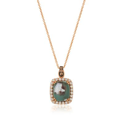 14K Strawberry Gold® Peacock Aquaprase™ 6 cts. Pendant with Chocolate Diamonds® 1/15 cts., Nude Diamonds™ 1/2 cts.