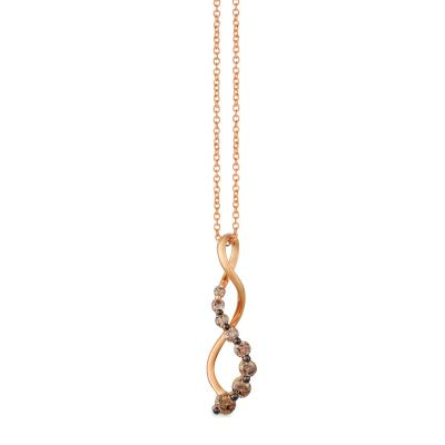 14K Strawberry Gold® Pendant with Ombre Chocolate Diamonds® 3/8 cts.