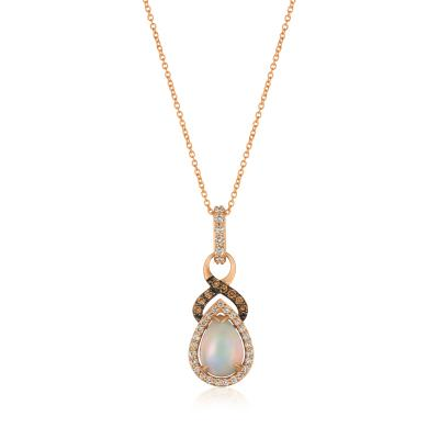14K Strawberry Gold® Neopolitan Opal™ 7/8 cts. Pendant with Nude Diamonds™ 1/4 cts., Chocolate Diamonds® 1/10 cts.