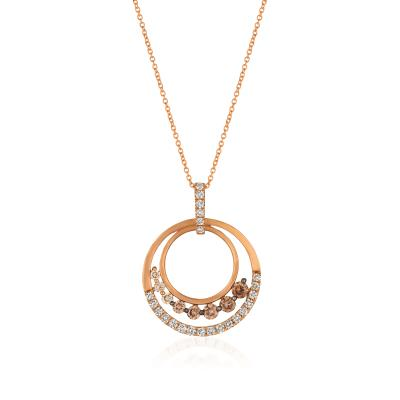 14K Strawberry Gold® Pendant with Ombre Chocolate Diamonds® 1  1/5 cts.