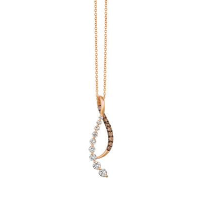 14K Strawberry Gold® Pendant with Nude Diamonds™ 5/8 cts., Chocolate Diamonds® 1/4 cts.