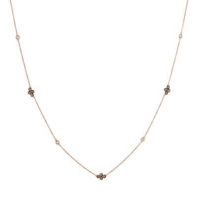 14K Strawberry Gold® Necklace with Vanilla Diamonds® 1/5 cts., Chocolate Diamonds® 1/2 cts.