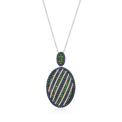18K Vanilla Gold® Blueberry Sapphire™ 1  1/4 cts., Green Garnet 5/8 cts. Pendant with Vanilla Diamonds® 1/2 cts.