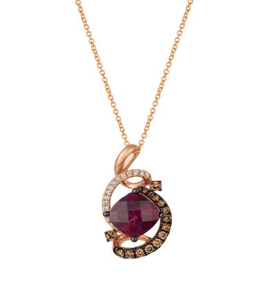 14K Strawberry Gold® Raspberry Rhodolite® 1  3/4 cts. Pendant with Chocolate Diamonds® 1/4 cts., Nude Diamonds™ 1/8 cts.