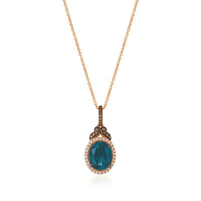 14K Strawberry Gold® Deep Sea Blue Topaz™ 3 cts. Pendant with Chocolate Diamonds® 1/15 cts., Vanilla Diamonds® 1/8 cts.