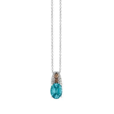 14K Vanilla Gold® Blueberry Zircon™ 1  1/2 cts. Pendant with Chocolate Diamonds® 1/15 cts., Vanilla Diamonds® 1/20 cts.