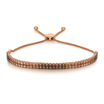 14K Strawberry Gold® Bolo Bracelet with Ombre Chocolate Diamonds® 3 cts.