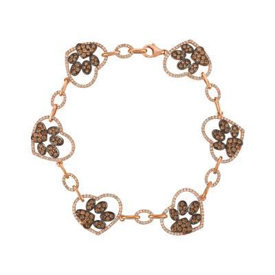 14K Strawberry Gold® Bracelet with Chocolate Diamonds® 1  5/8 cts., Vanilla Diamonds® 1  1/3 cts.