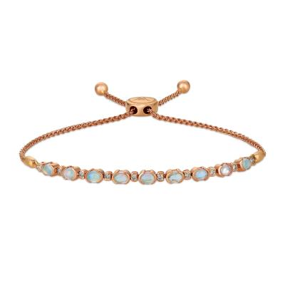 14k strawberry gold® neopolitan opal™ 1 cts. bolo bracelet with nude diamonds™ 1/5 cts.