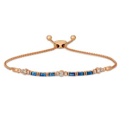 14K Strawberry Gold® Blueberry Sapphire™ 3/4 cts. Bolo Bracelet with Vanilla Diamonds® 1/4 cts.