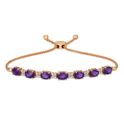 14K Strawberry Gold® Grape Amethyst™ 4  1/5 cts. Bolo Bracelet with Nude Diamonds™ 1/2 cts.