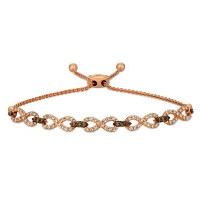 14K Strawberry Gold® Bolo Bracelet with Chocolate Diamonds® 3/8 cts., Nude Diamonds™ 1 cts.