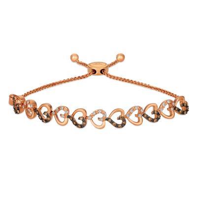 14K Strawberry Gold® Bolo Bracelet with Chocolate Diamonds® 3/8 cts., Nude Diamonds™ 1/3 cts.