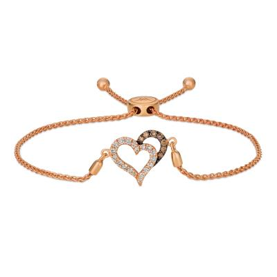 14K Strawberry Gold® Bolo Bracelet with Chocolate Diamonds® 1/8 cts., Nude Diamonds™ 1/3 cts.
