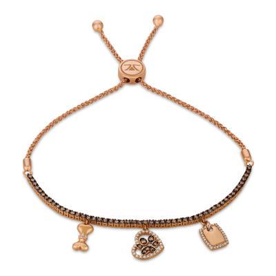 14K Strawberry Gold® Bolo Bracelet with Chocolate Diamonds® 3/4 cts., Vanilla Diamonds® 1/5 cts.