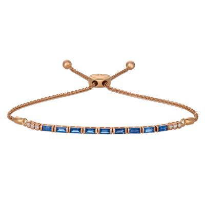 14K Strawberry Gold® Blueberry Sapphire™ 1  1/6 cts. Bolo Bracelet with Vanilla Diamonds® 1/10 cts.