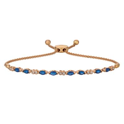 14K Strawberry Gold® Blueberry Sapphire™ 1  1/8 cts. Bolo Bracelet with Vanilla Diamonds® 1/5 cts.