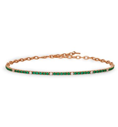 14K Strawberry Gold® Costa Smeralda Emeralds™ 1  1/2 cts. Bolo Bracelet with Nude Diamonds™ 1/2 cts.