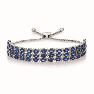 14K Vanilla Gold® Blueberry Sapphire™ 8 cts. Bolo Bracelet with Vanilla Diamonds® 5/8 cts.