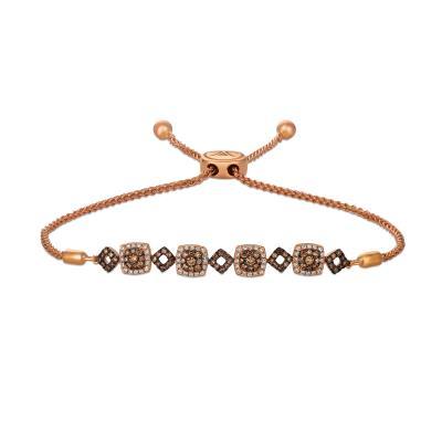 14K Strawberry Gold® Bolo Bracelet with Chocolate Diamonds® 1/2 cts., Vanilla Diamonds® 1/5 cts.