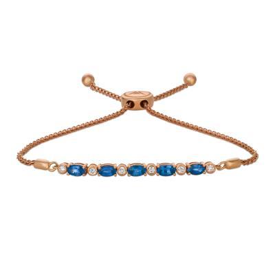 14K Strawberry Gold® Blueberry Sapphire™ 1  1/3 cts. Bolo Bracelet with Vanilla Diamonds® 1/8 cts.