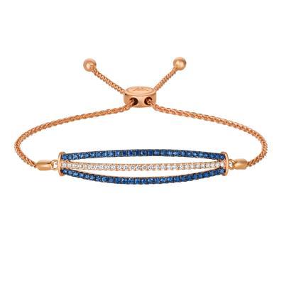 14K Strawberry Gold® Blueberry Sapphire™ 1 cts. Bolo Bracelet with Vanilla Diamonds® 3/8 cts.