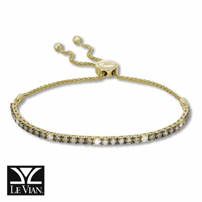 14K Honey Gold™ Bolo Bracelet with Chocolate Diamonds® 1  3/4 cts., Nude Diamonds™ 1/3 cts.
