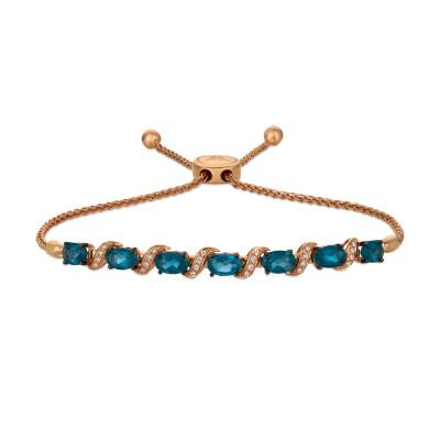 14k strawberry gold® deep sea blue topaz™ 2  3/4 cts. bolo bracelet with vanilla diamonds® 1/15 cts.