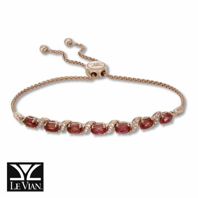 14K Strawberry Gold® Passion Ruby™ 3  1/2 cts. Bolo Bracelet with Vanilla Diamonds® 1/10 cts.