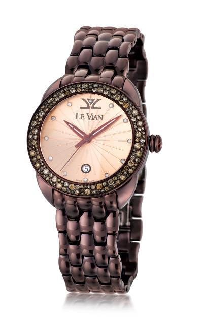 stl watch with chocolate diamonds® 1  7/8 cts., vanilla diamonds® 1/20 cts.