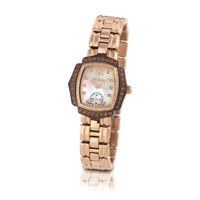 stl chocolate quartz® 1 cts. watch with vanilla diamonds® 3/8 cts.