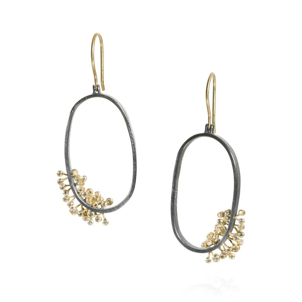 dangle earrings with silver brilliant cut diamond