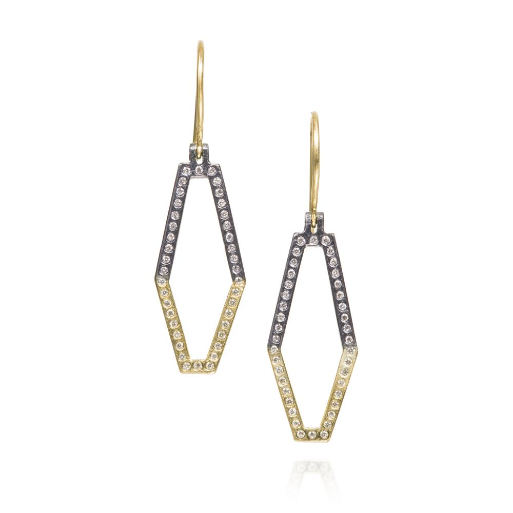 Geometric dangle earrings with white brilliant