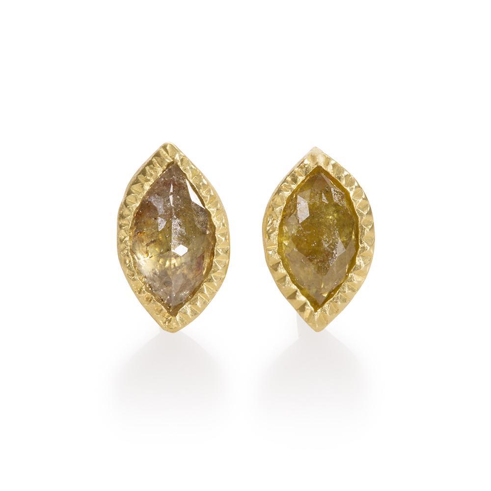 Stud earrings with fancy cut diamonds 053ctw i