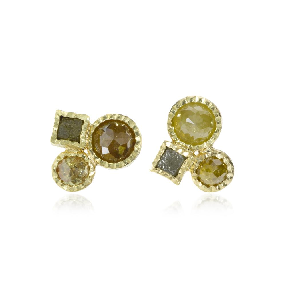 Stud earrings with rose cut diamonds 242ctw an