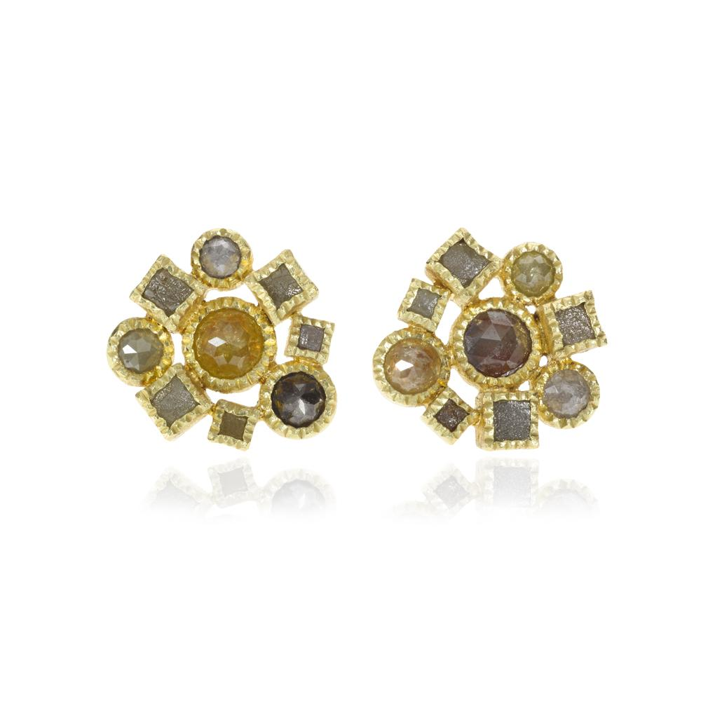 Stud earrings with rose cut diamonds 402ctw an