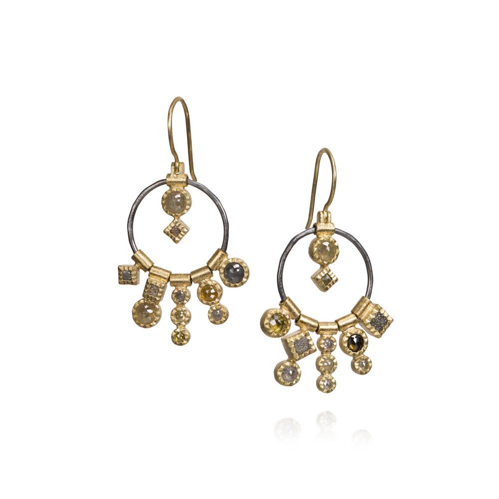 Dangle earrings with rose cut diamonds 267ctw
