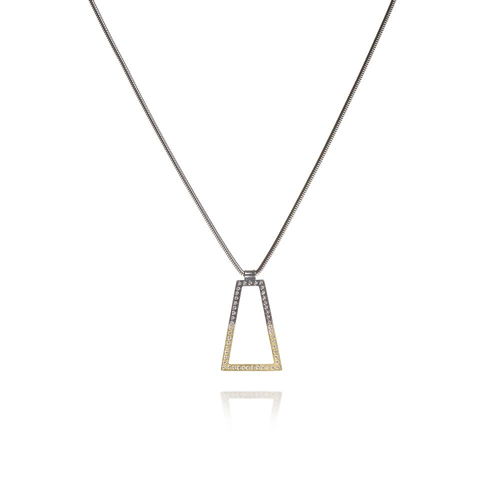 Mixed metal geometric pendant necklace with wh