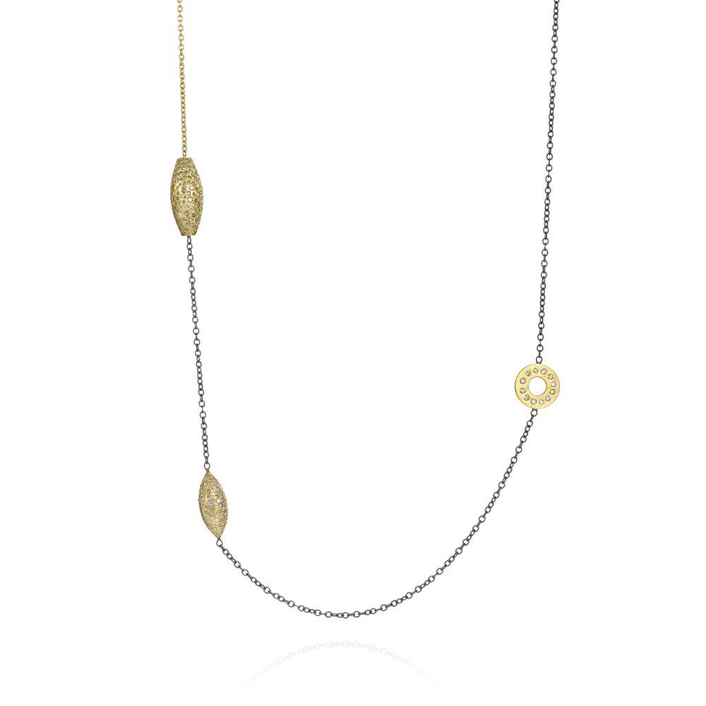 Station chain necklace with white brilliant cu