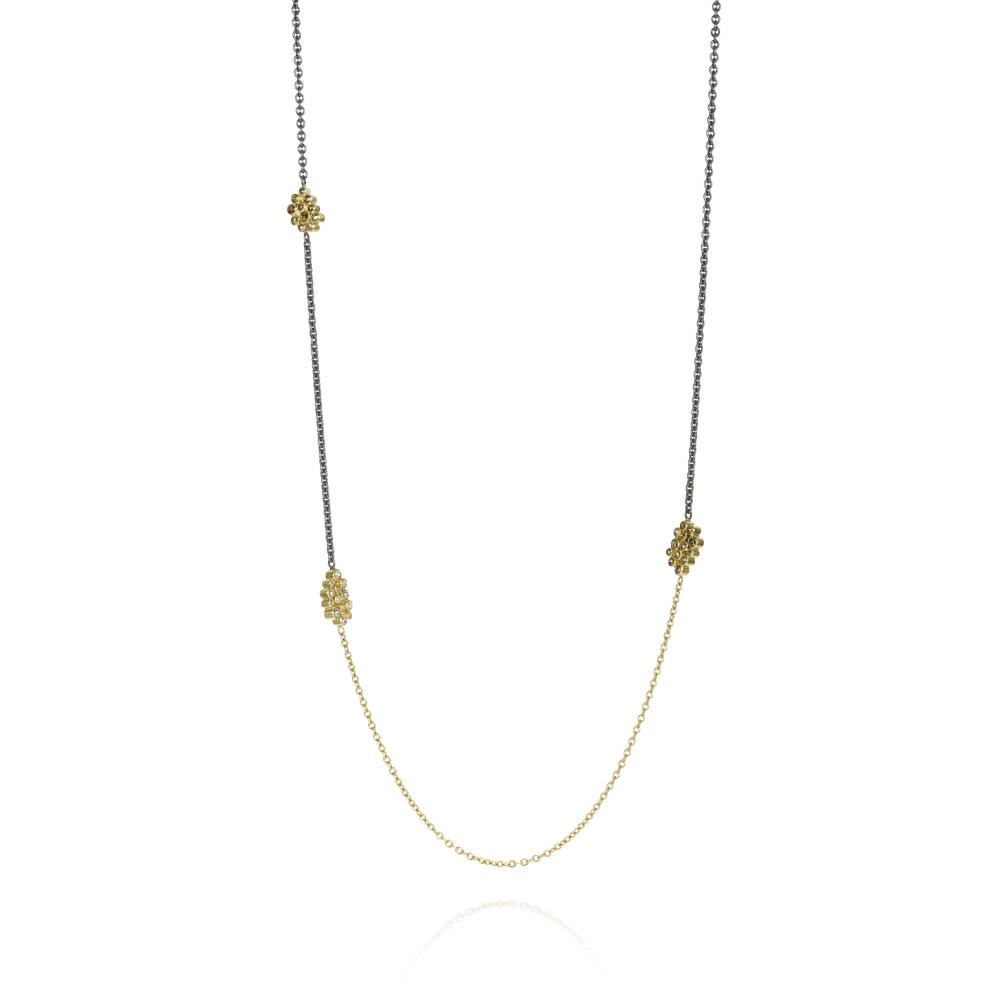Station chain necklace with white rose cut dia