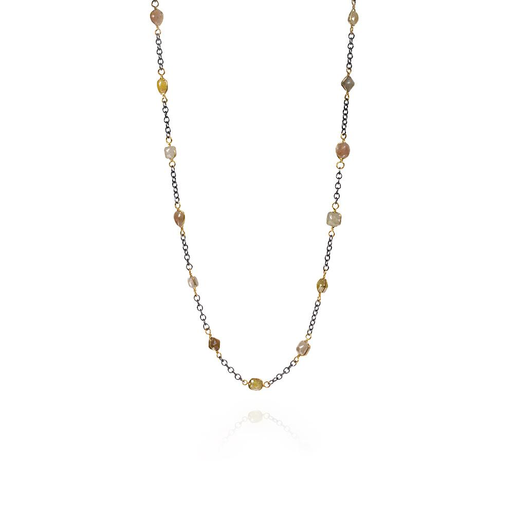 Station chain necklace with fancy cut diamonds