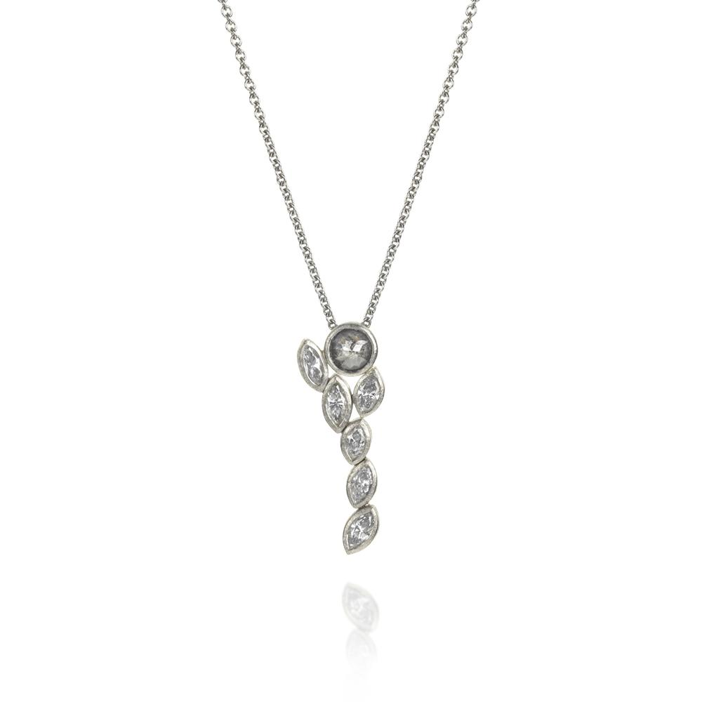 Necklace with rose cut diamond 065ctw and w