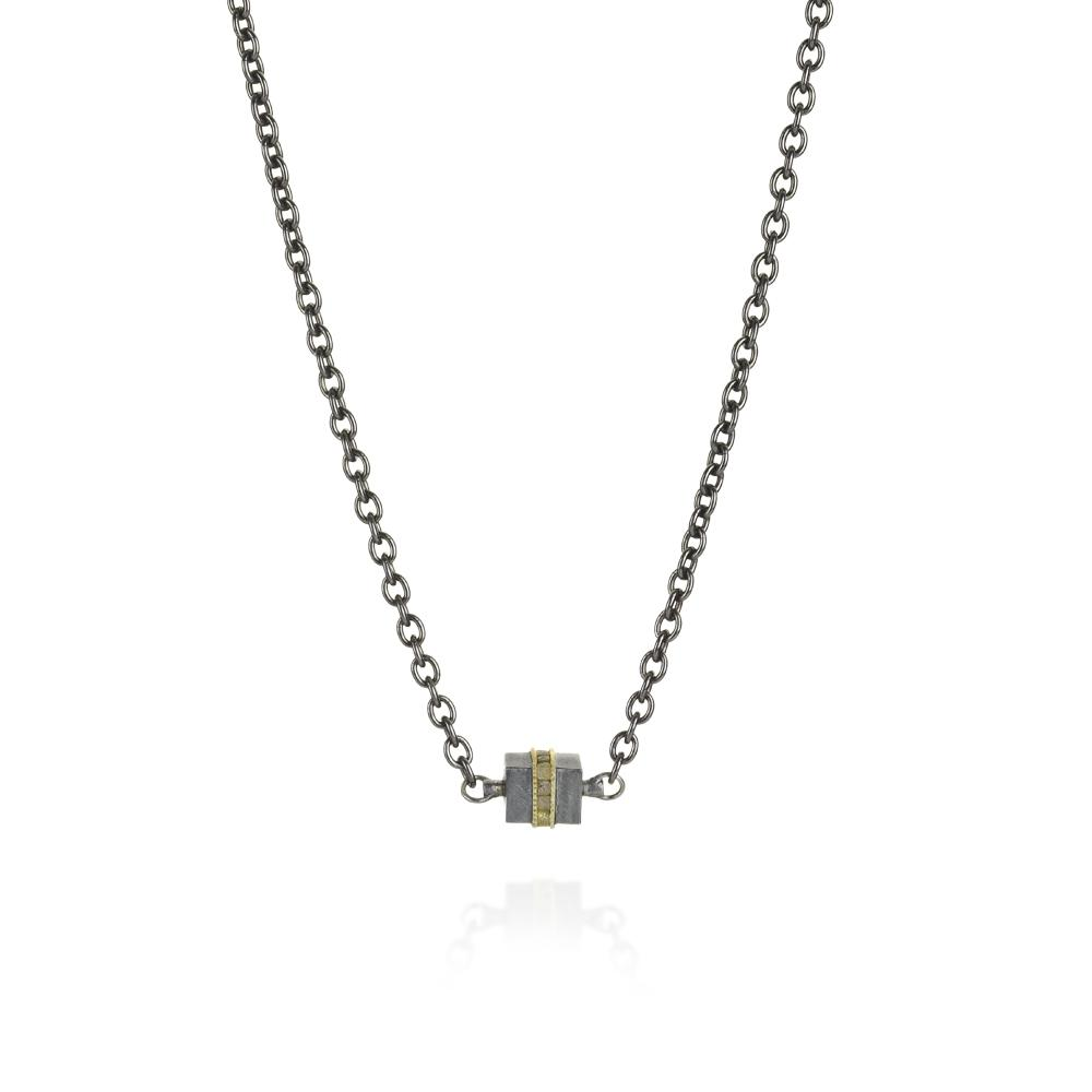 Necklace with raw diamond cubes 138ctw in 1