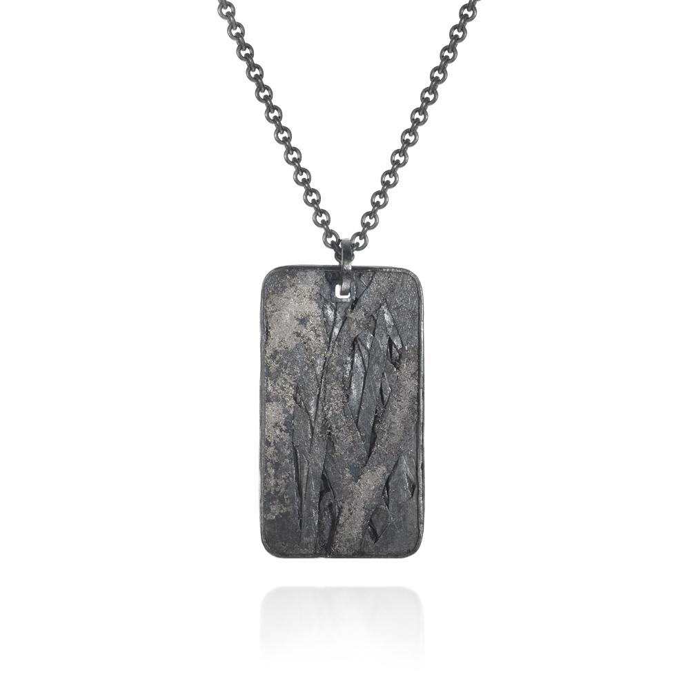 Pendant necklace with raw diamond cube 011ct