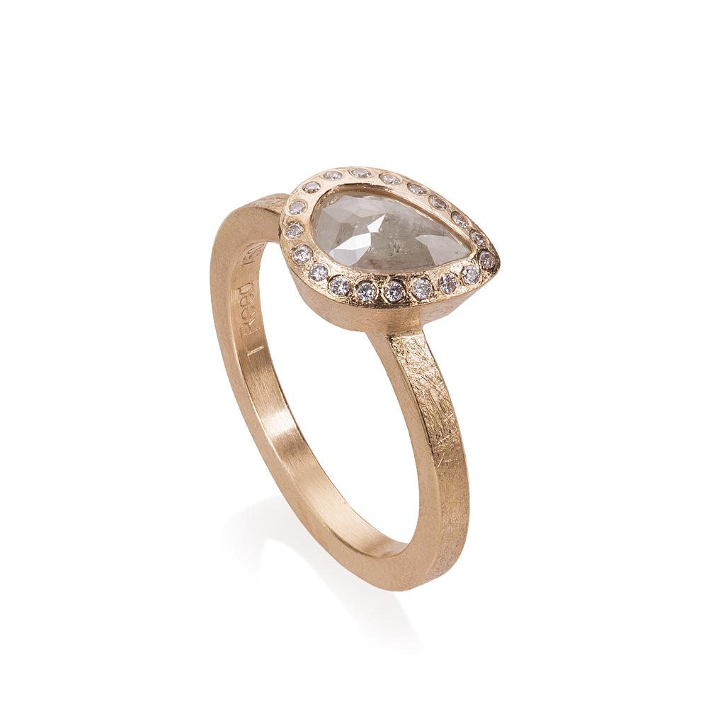 Ring with natural colored fancy cut diamond 0