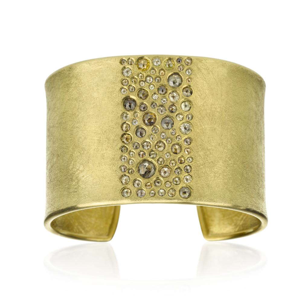 One of a kind wide cuff bracelet with natural