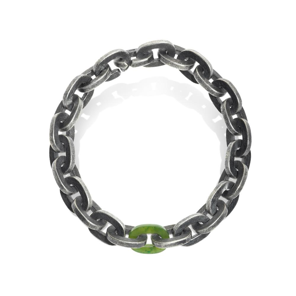 Link bracelet with green jade and sterling sil