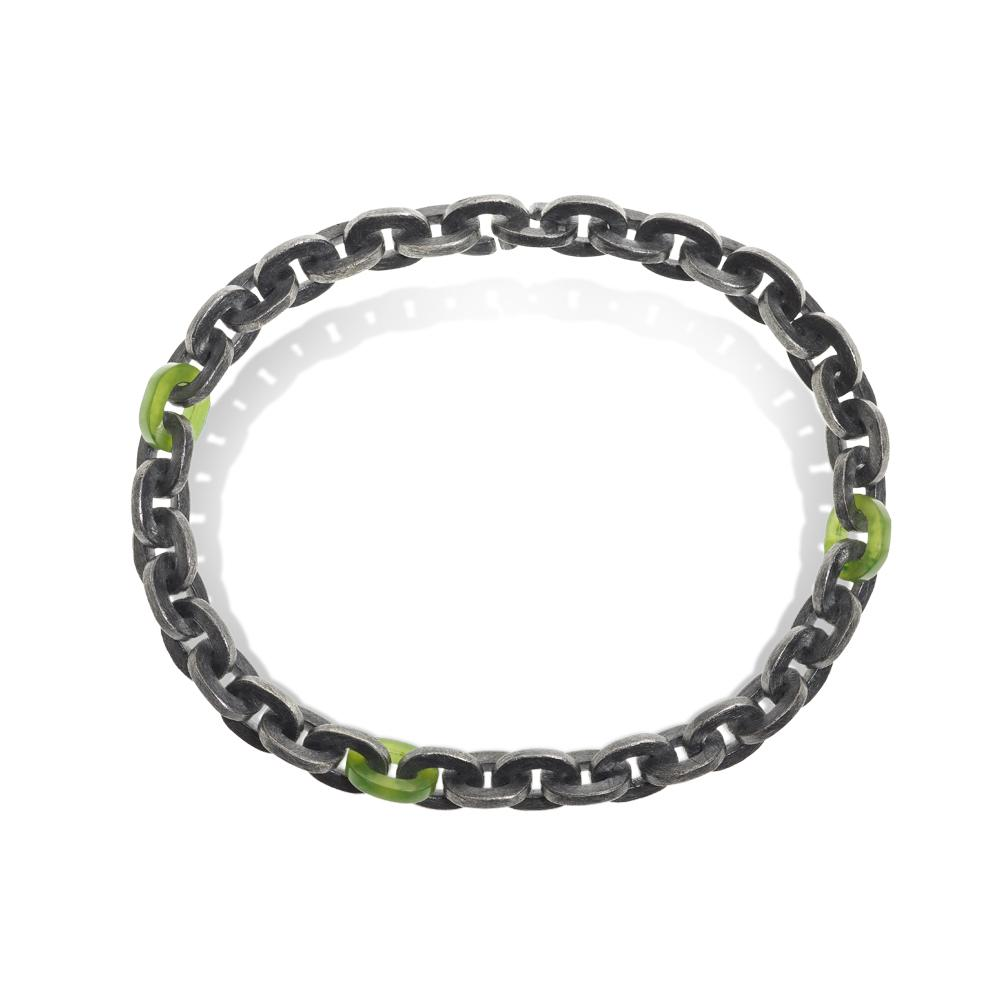 Link bracelet with green jade raw diamond cub
