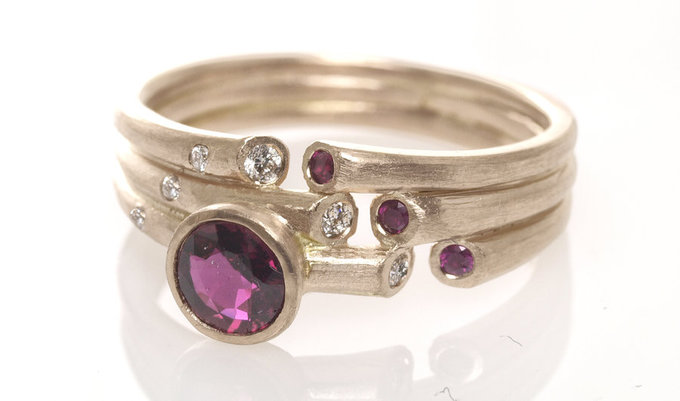 night sky ring in rose gold with rubies