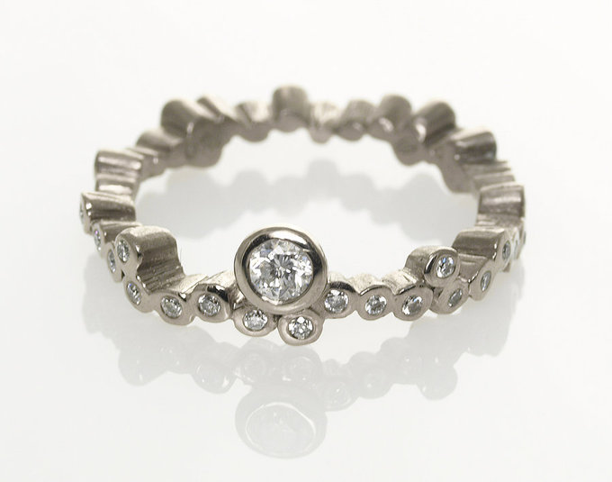 Cascading Stones Ring in White Gold with Diamonds